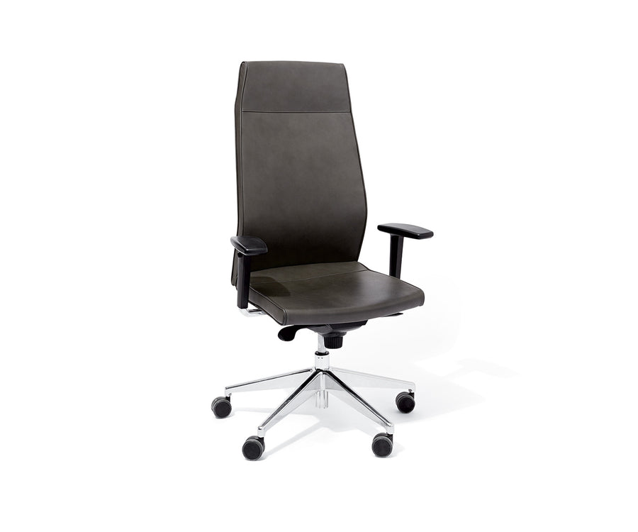 Contoured High-Back Leather Task Chair with Arms