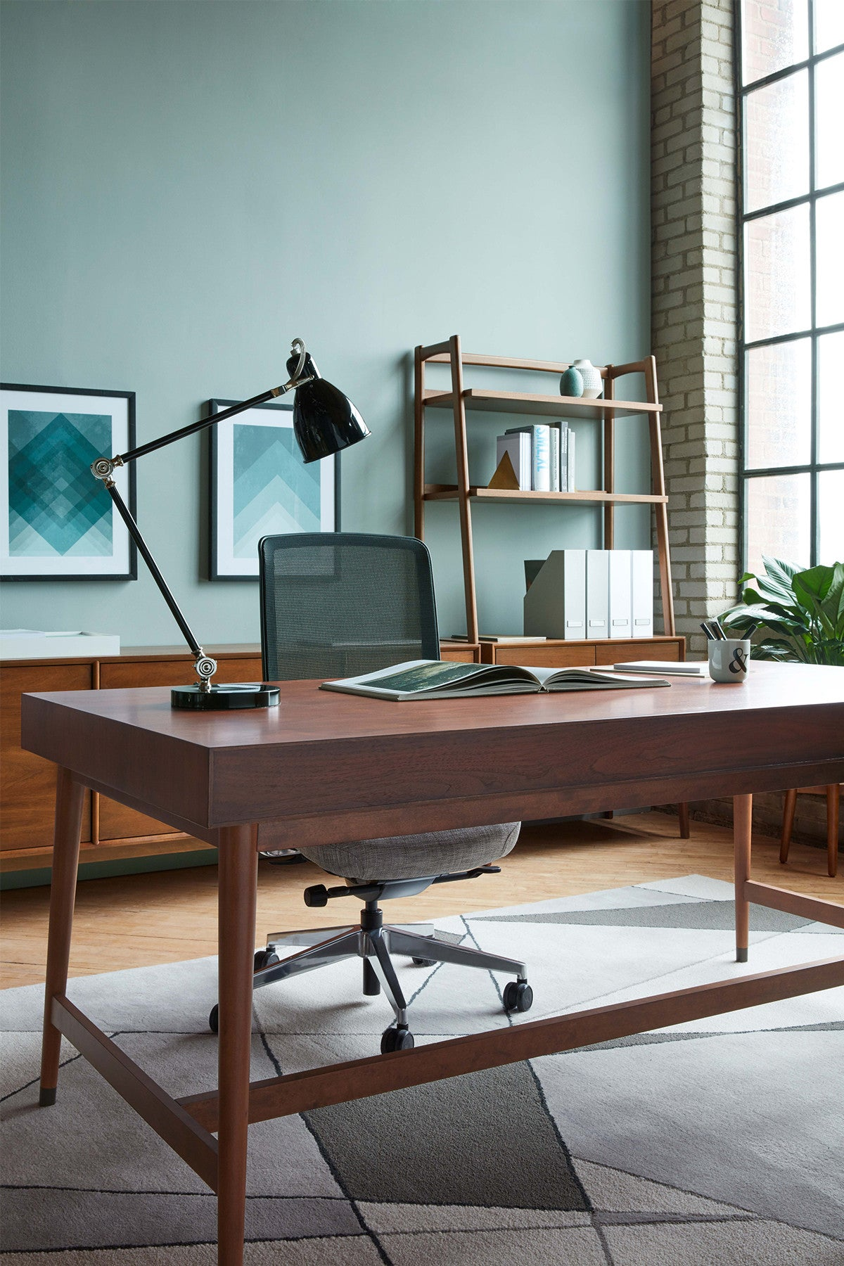 Mid Century Private Desk with Drawers – west elm WORKSPACE