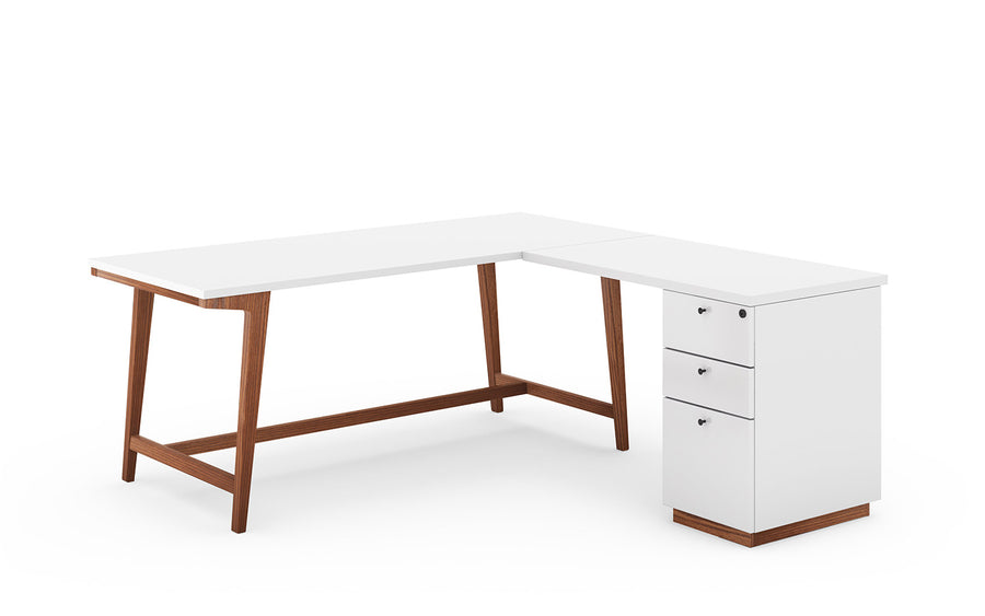 Modern Private Desk with Pedestal Return