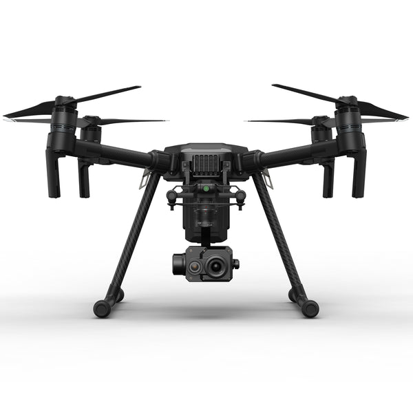 DJI Matrice 200 quadcopter drone with Zenmuse XT2 FLIR/thermal camera attached.