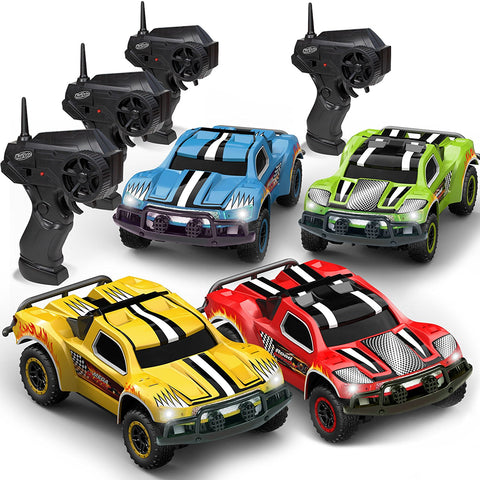 Remote Control Car - Mega Set of 4 Mini Racing Coupe Cars - With Rechargeable Batteries and Wall Chargers