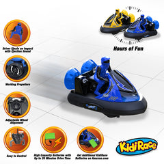 KidiRace RC Bumper Cars - Series 2401 - Blue & Yellow