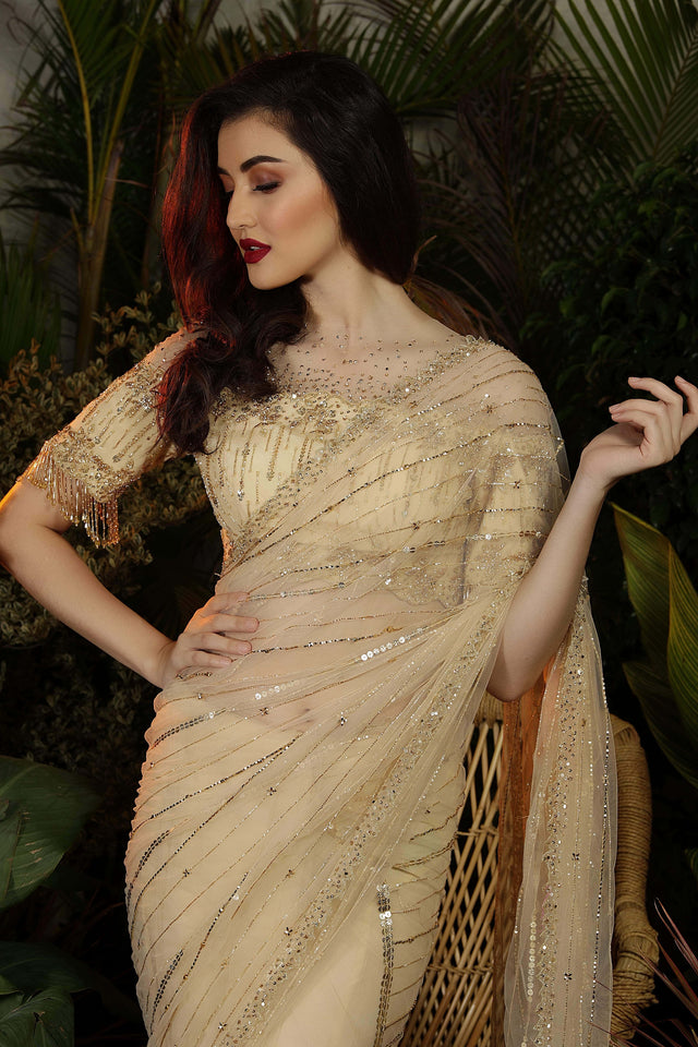 IS-CU-26 Mellow Gold Net Saree with Crystal and Cutdana Work