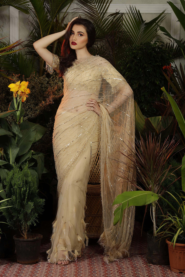 Mellow Gold Net Saree with Crystal and Cutdana Work
