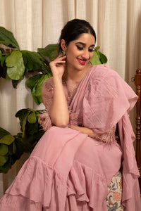 IS-CU-154 Mauve Ruffle Saree with Feathers on the Sleeve Hem