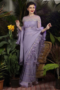 Lavender ruffle saree with Crystal work