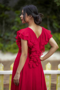 Red Flowy Dress with Ruffles .