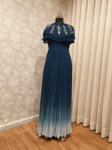IS-CU-32 Deep Blue to Light Blue Ombre Drapped Cape Dress