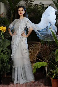 Brisk Blue Ruffled Saree with Feather Sleeves.
