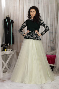 Pale Green Net Skirt with Green Peplum Top