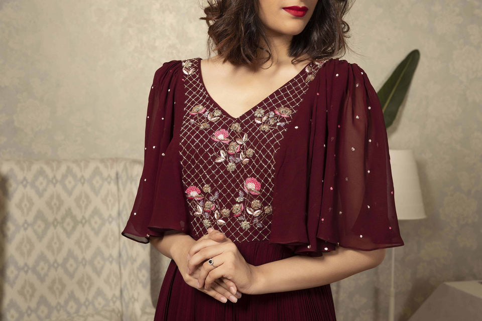 IS-CU-34 -Maroon to peach ombre dress with bat sleeves