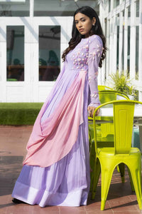 Lavender Dress with Warm Coloured Ombre Draped