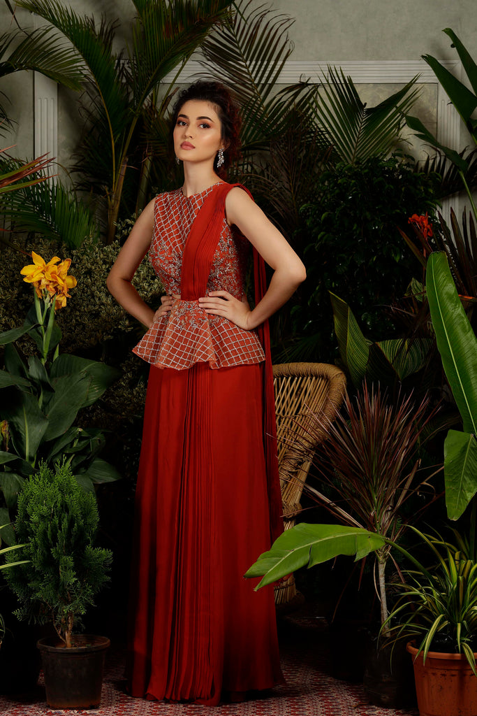IS-CU-250 Rust Pleated Saree with Peplum Blouse