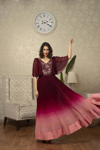 IS -CU-195 -Maroon to peach ombre dress with bat sleeves
