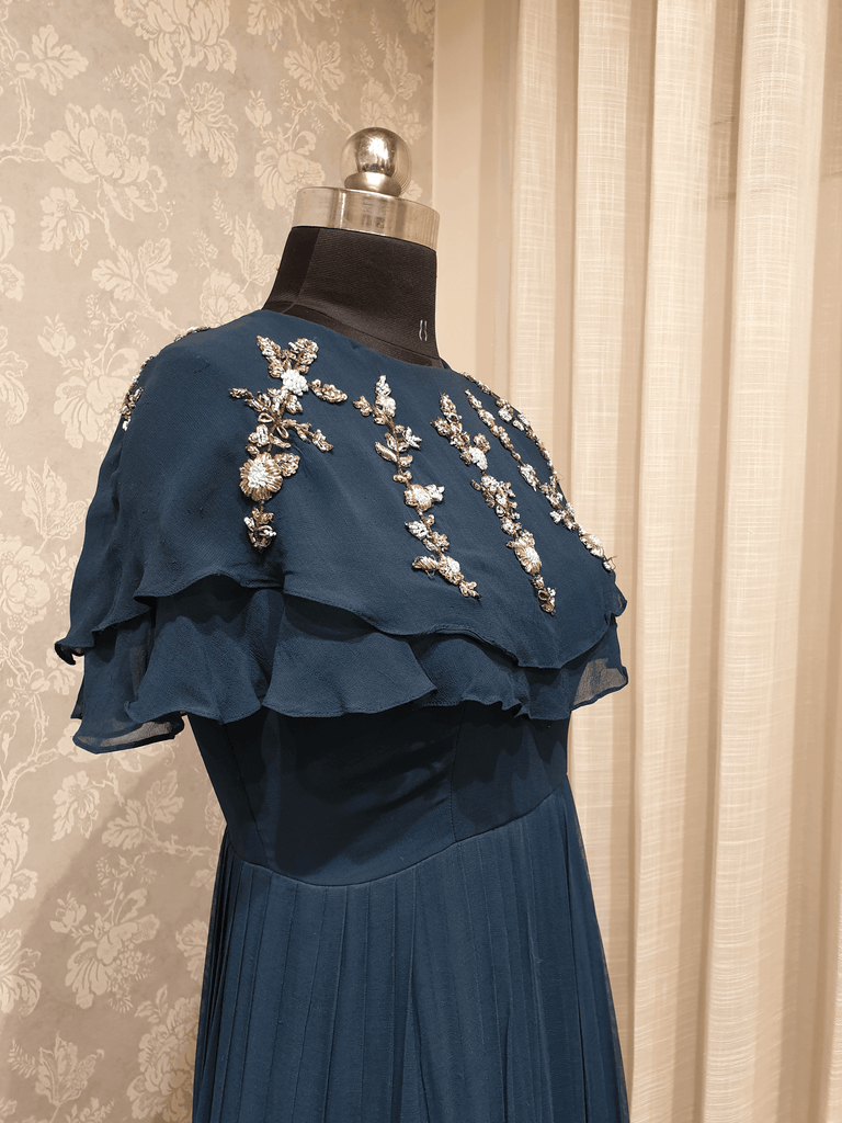 Deep Blue to Light Blue Ombre Drapped Cape Dress