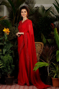 Red Cutwork Saree with Fringes Sleeves Blouse