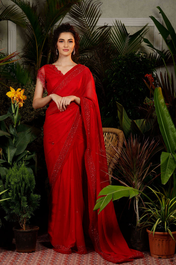 IS-CU-42 Red Cutwork Saree with Fringes Sleeves Blouse