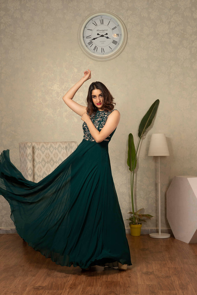 Bottle Green Sleeveless Dress with Detailing of Thread and Jardosi