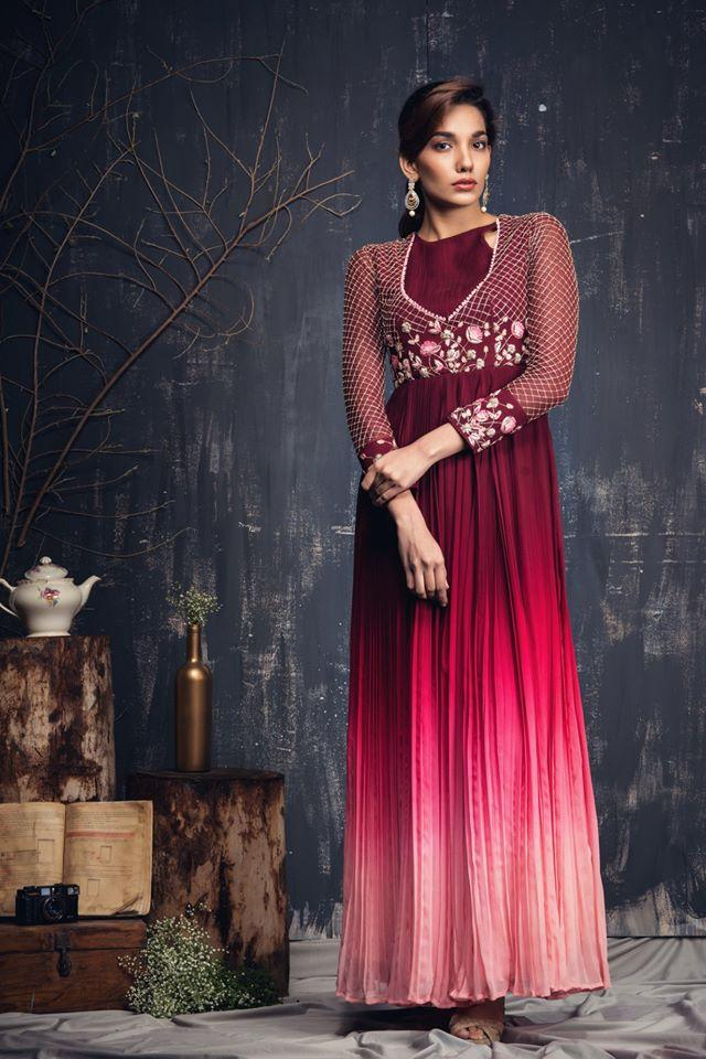 Maroon to Pink ombre Ghera with Maroon embroidered yoke