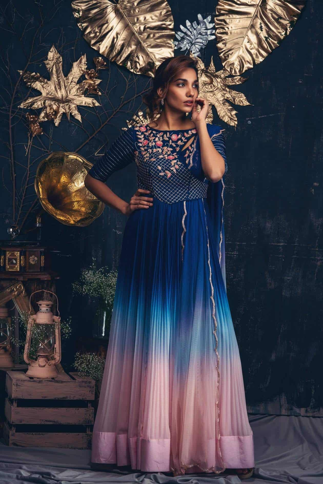 Blue to pink ombre dress with cutwork dupatta