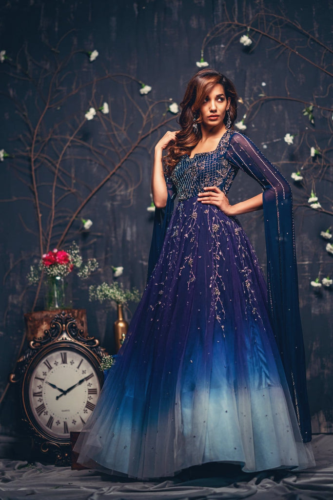 Dark blue and ligh blue ombre gown with cape sleeves - Issa Studio