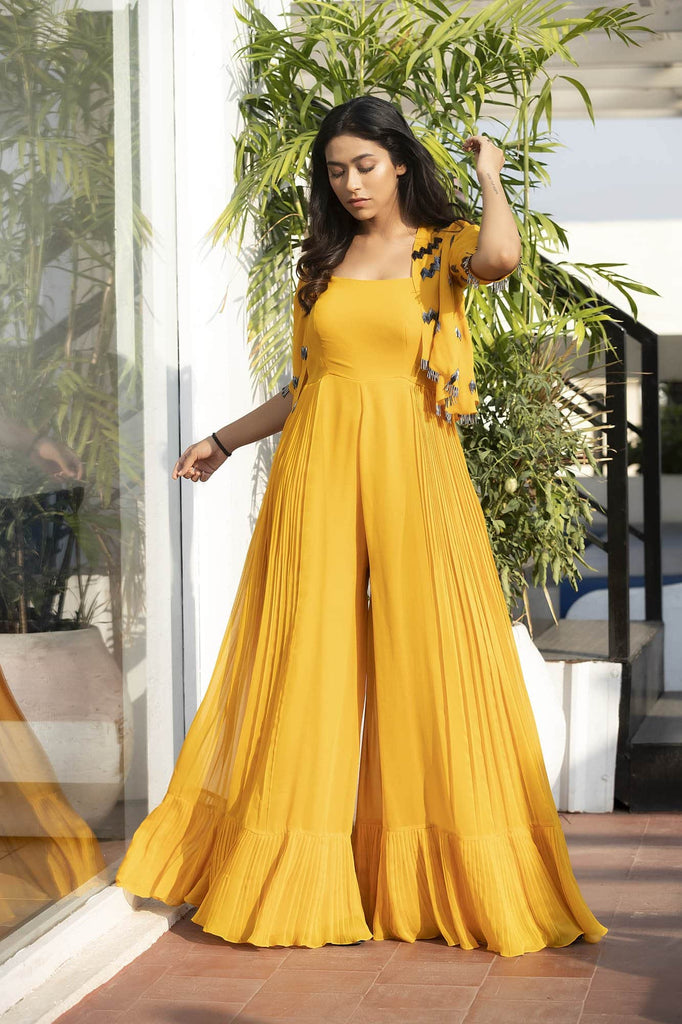 Ocher Yellow Rushes Jumpsuit with Fringes Shrug .