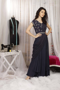 IS-CU-33 Greyish Black Draped Saree