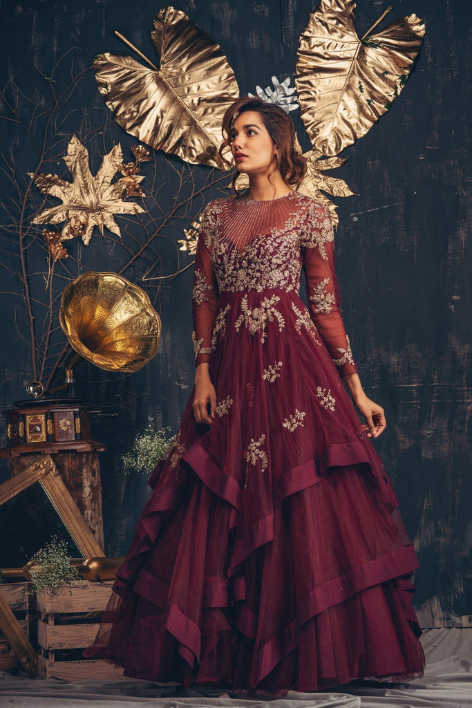 Maroon layered gown with sheer yoke