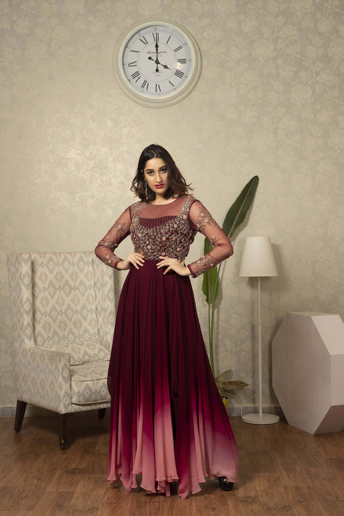 Maroon to Peach ombre Dress with Cutdana and Thread Work Detailing