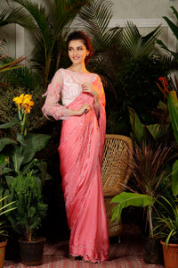 IS-CU-254 Pink Cutwork Saree with Feature Sleeves Blouse
