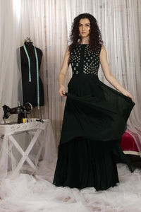 Bottle Green HighLow Sleeveless Dress