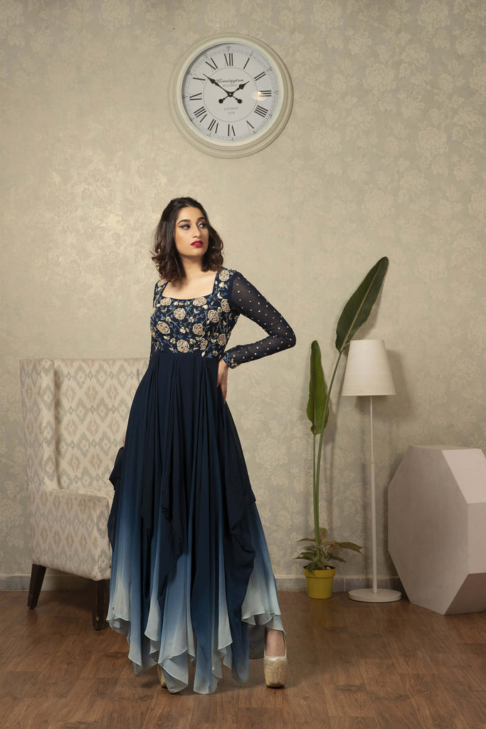 IS -CU -28 Teal blue to light blue ombre high low dress with floral zardosi work detailing on yoke