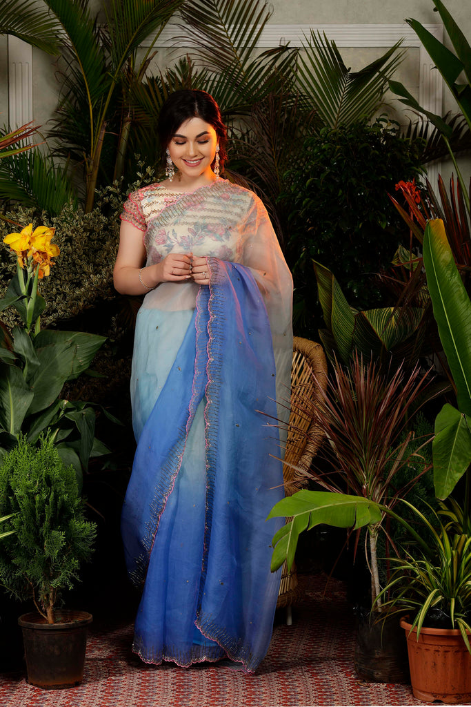 IS-CU-263 Blue ombre Cutwork Saree with Floral Blouse