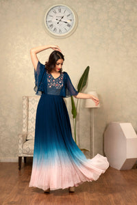 Blue to Pink Ombre Bat Sleeves Dress