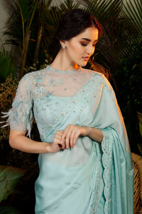 IS-CU-249 Blue Cutwork Saree with Feather  Sleeves