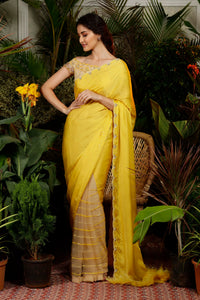IS-CU-23 Yellow Cutwork Saree with Half Shoulder Fringes Blouse