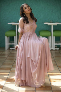 IS-CU-40 Warm Pink Tinted Dress with Ruffled Neckline