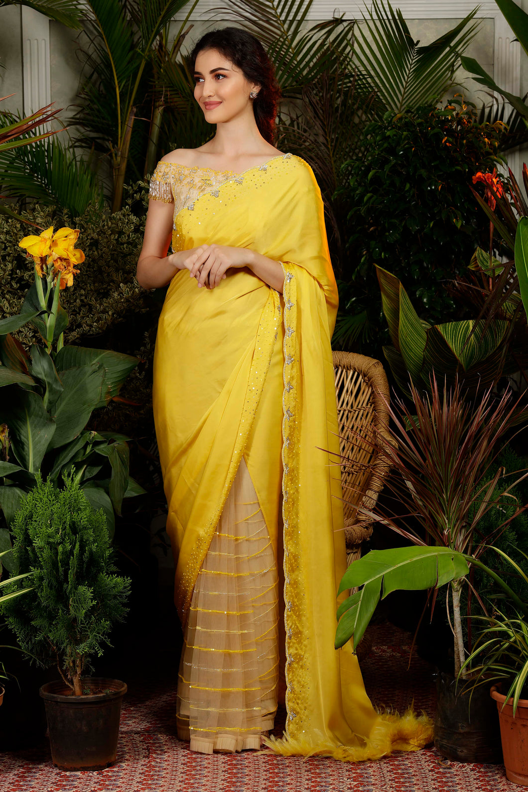 IS-CU-255 Yellow Cutwork Saree with Half Shoulder Fringes Blouse