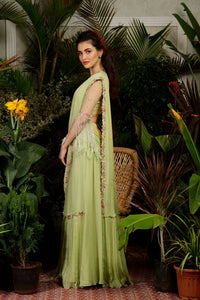 IS-CU-18 Green Cutwork Draped Saree