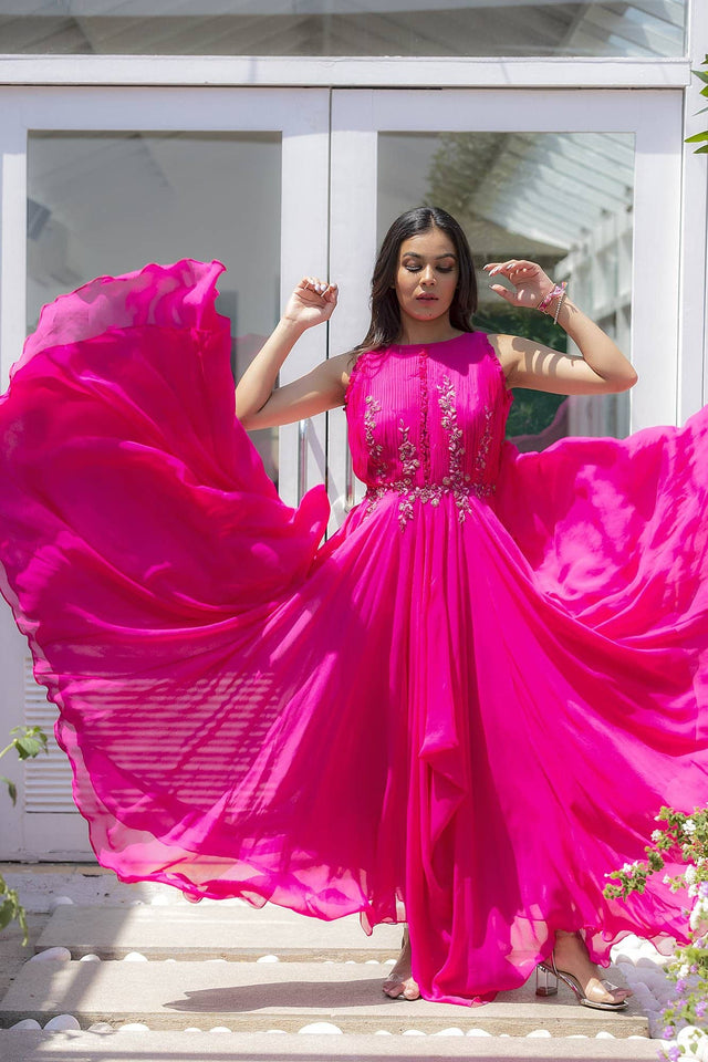 Hot Pink Drape Dress with Ruffles on the Front Yoke