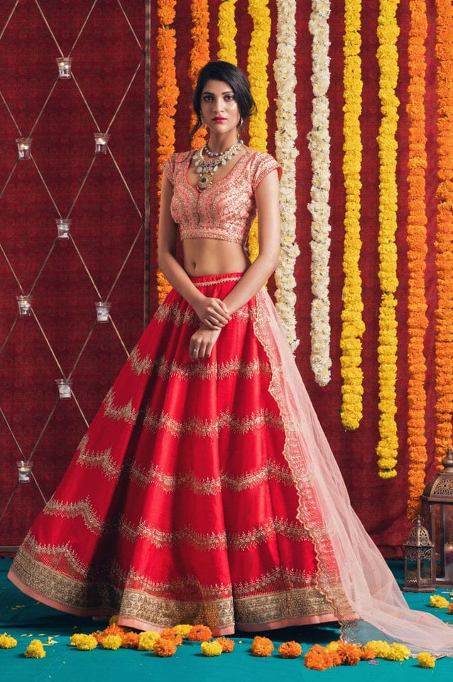 Red and Peach Lehenga