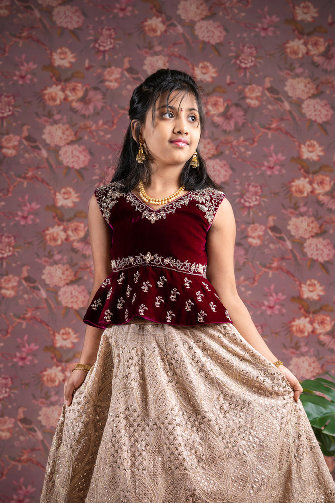 Golden Chikanakri Lehenga for 1-10 Year's old