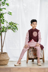 Burgundy Sherwani for 1-4 year's old