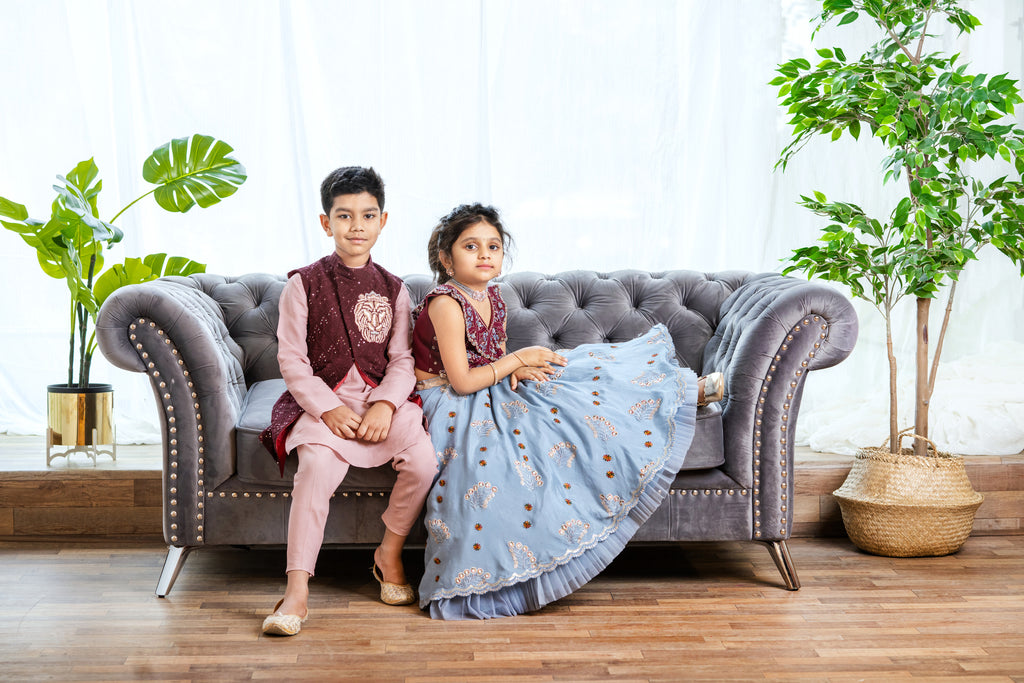Burgundy Chikankari blouse with Blue Lehenga For 1-4 Year's old