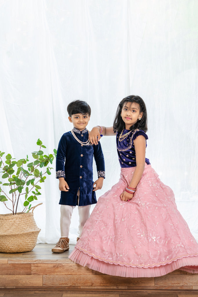 Blue Velvet Peach organza Lehenga For 1-4 Year's Old