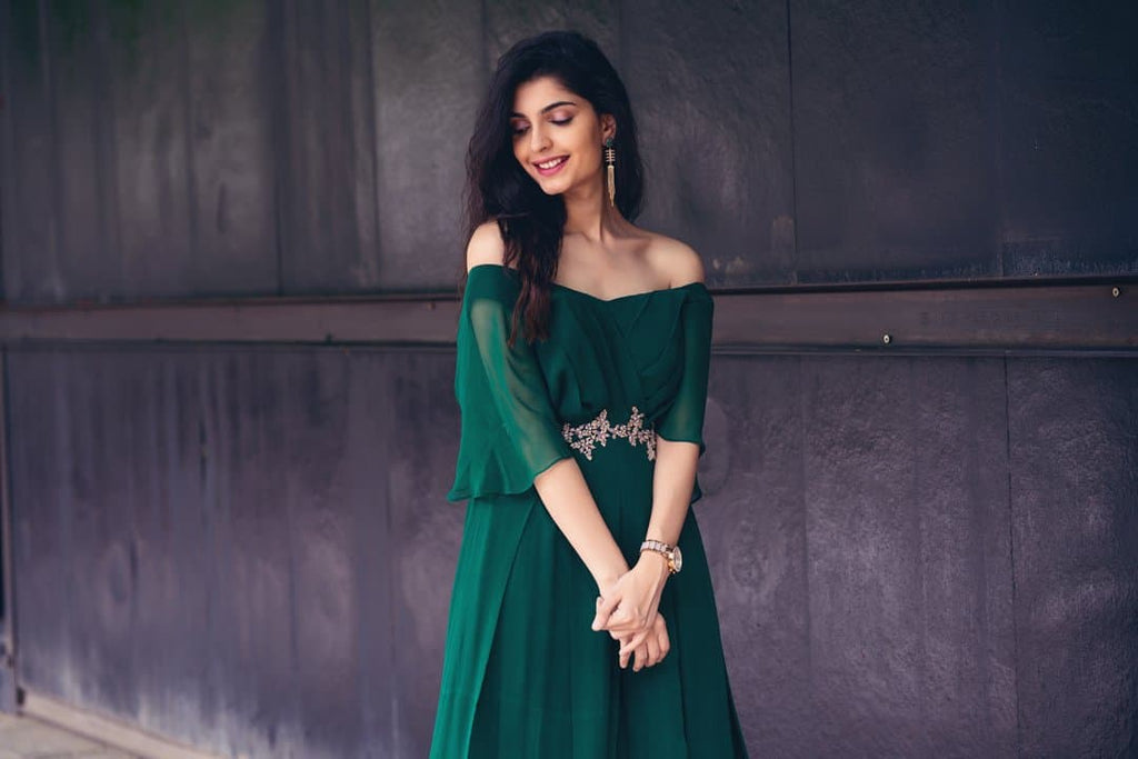 Bottle Green Pleated Jump Suit - Issa Studio
