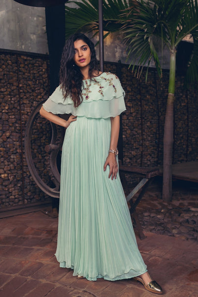 Mint Green Double Layered Cape Pleated Dress