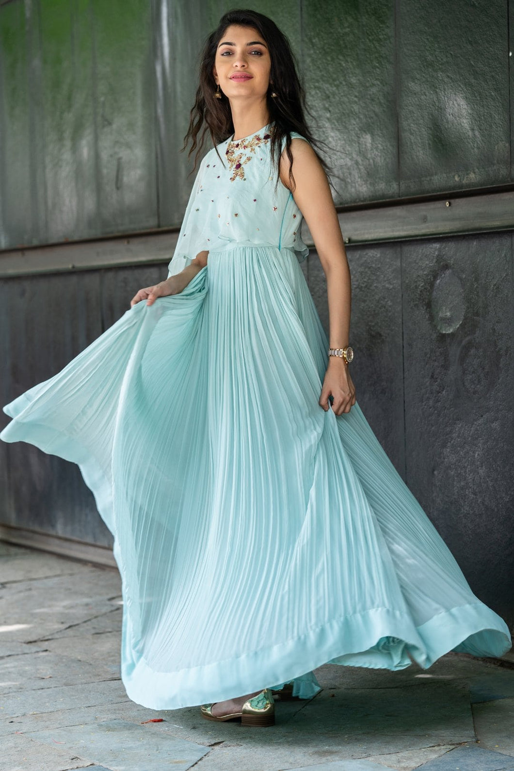 Powder Blue Frill Layered Dress