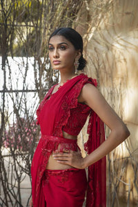 Cranberry cutwork saree with fringes belt