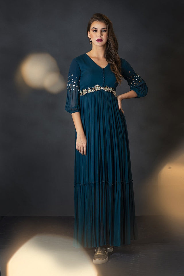 Teal Bishop Sleeves Pleated Gown